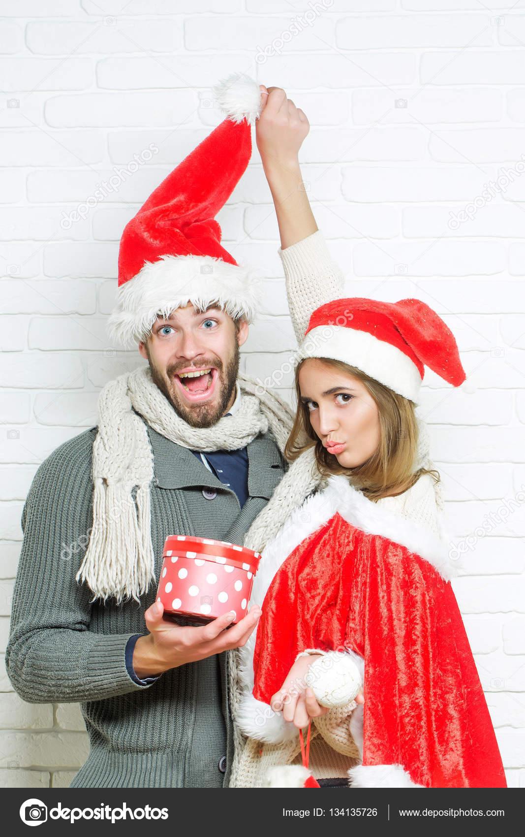 Young Funny Christmas Couple Stock Photo