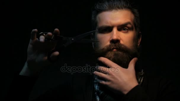Bearded man with scissors cuts his beard  Barber makes a short beard  himself  Attractive handsome man isolated on black background work with  sharp scissors
