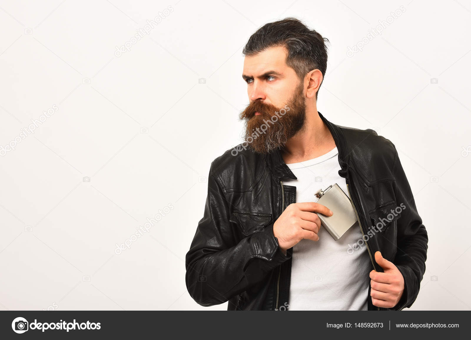 De Serio Hipster Barbudo Hombre Con Chaqueta En Frasco Metálico ww8HP