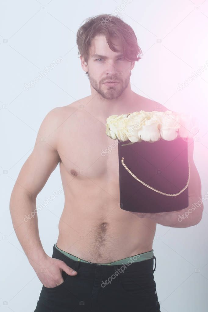 man with rose flower, beauty and fashion, love and romance