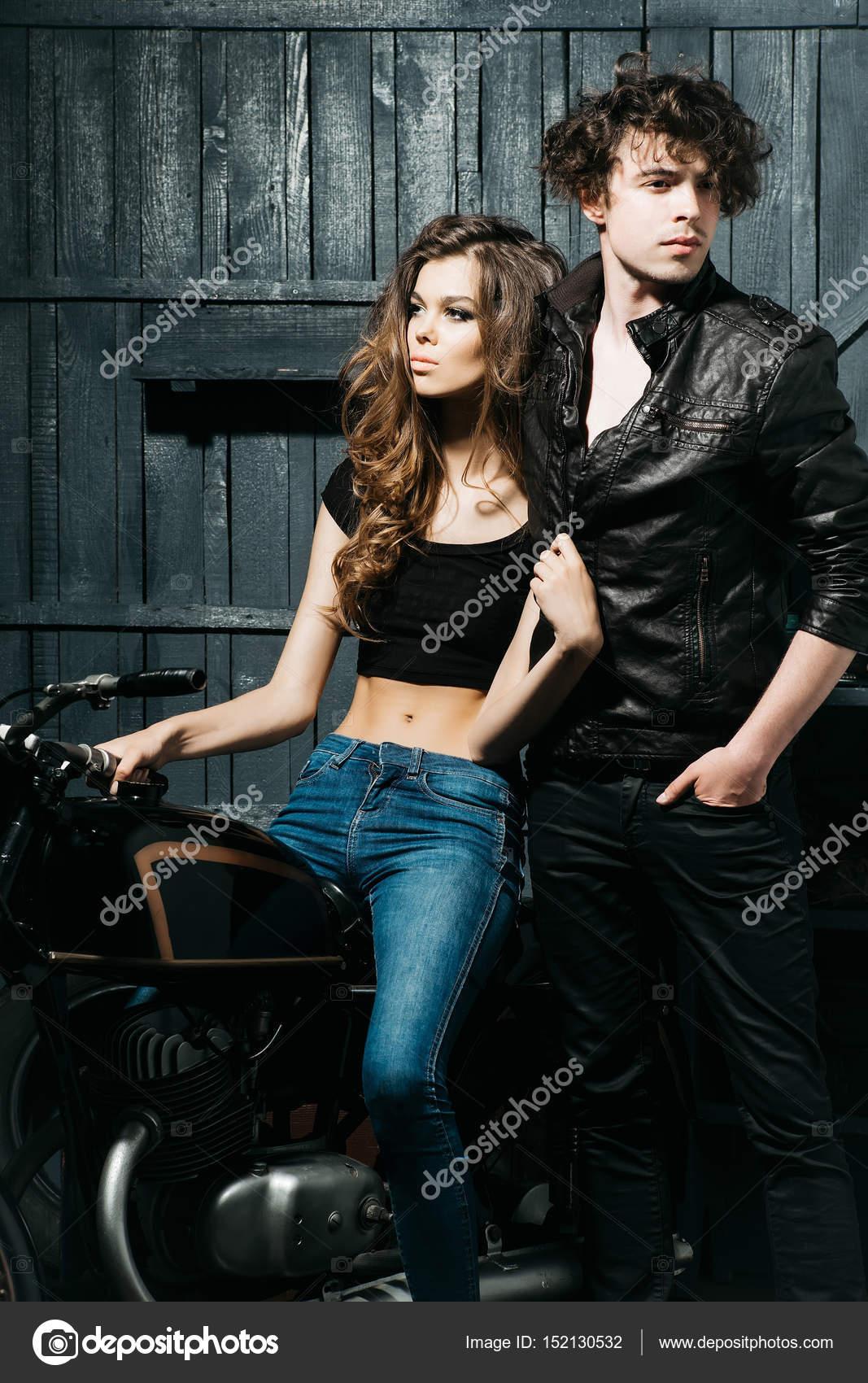 Biker Couple Of Sexy Girl And Handsome Man  Stock Photo  Tverdohlibcom 152130532-3009