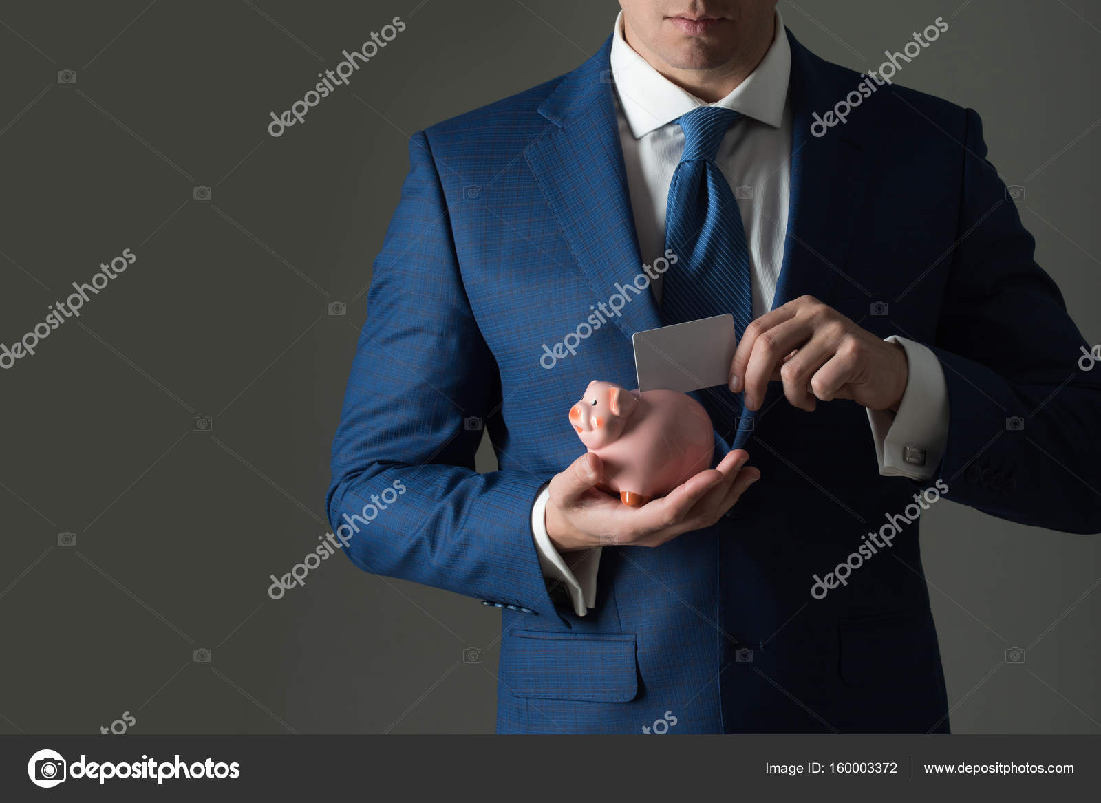 Stylish Formal Blue Suit And Tie. Male Hands Putting Blank Business Card In  Piggy Bank For Saving On Grey Background. Banking, Money, Loan, Moneybox,  ...
