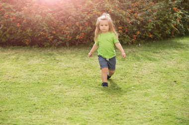 Boy small kid with serious cute face walking along meadow