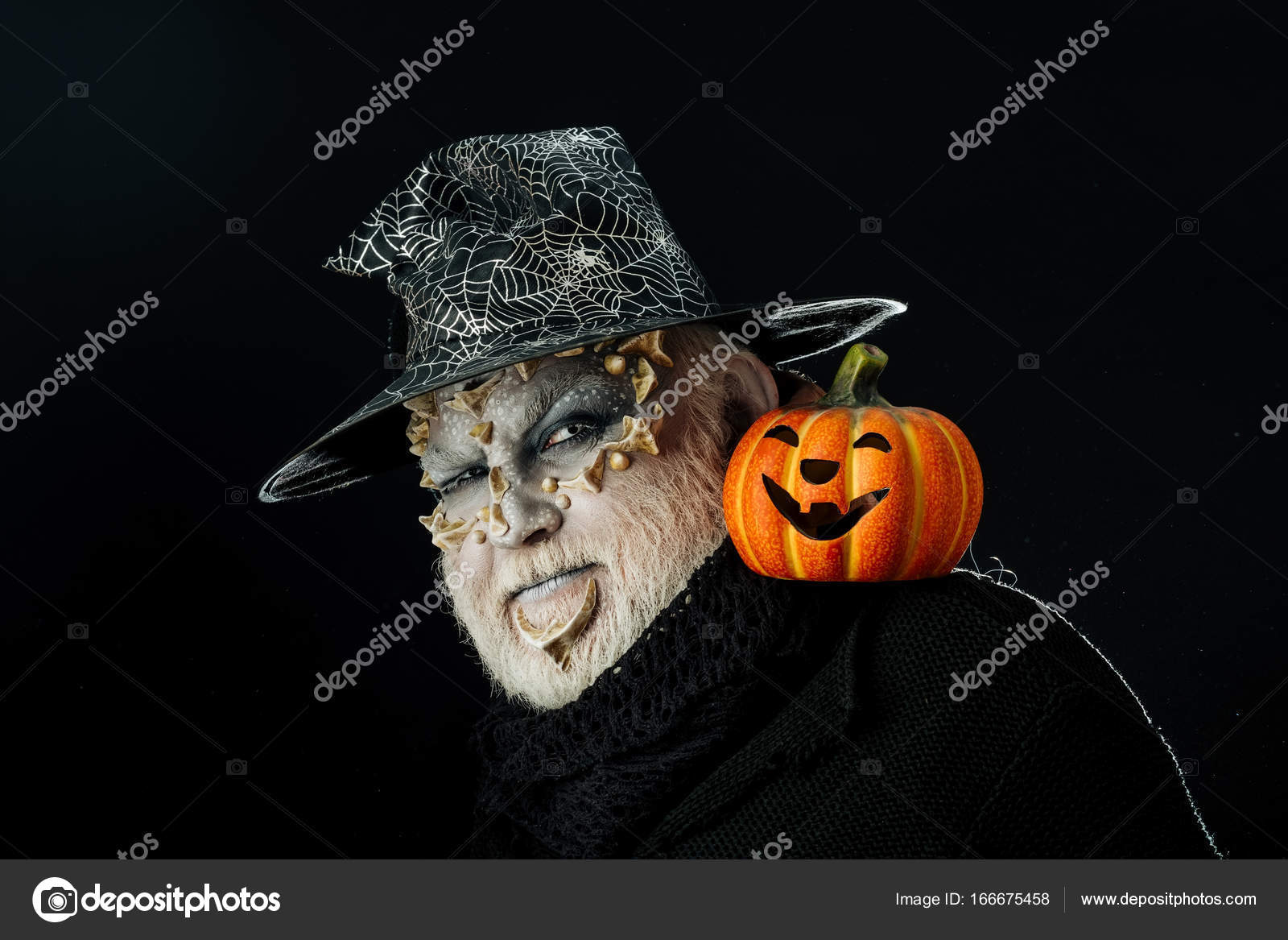 Halloween Maan.Halloween Man Scary Pumpkin And Thorns On Face Stock Photo