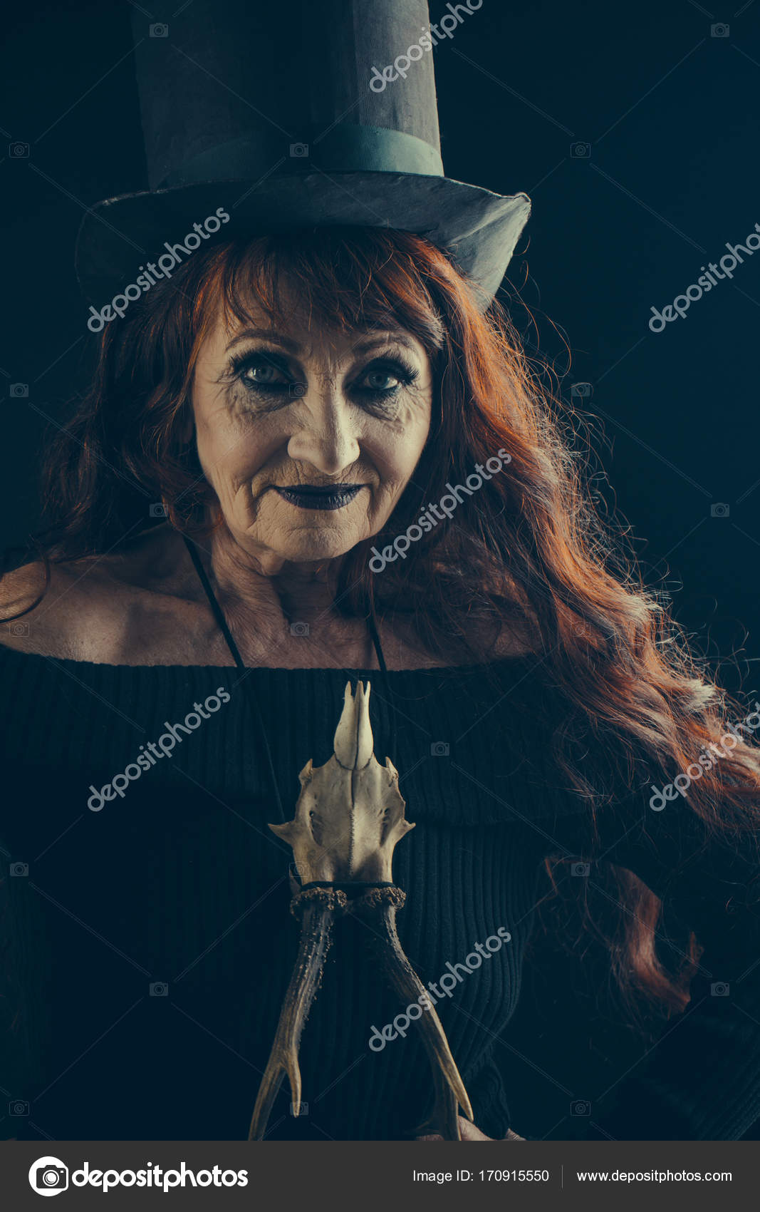 Old lady makeup costume | Halloween old lady in witch hat