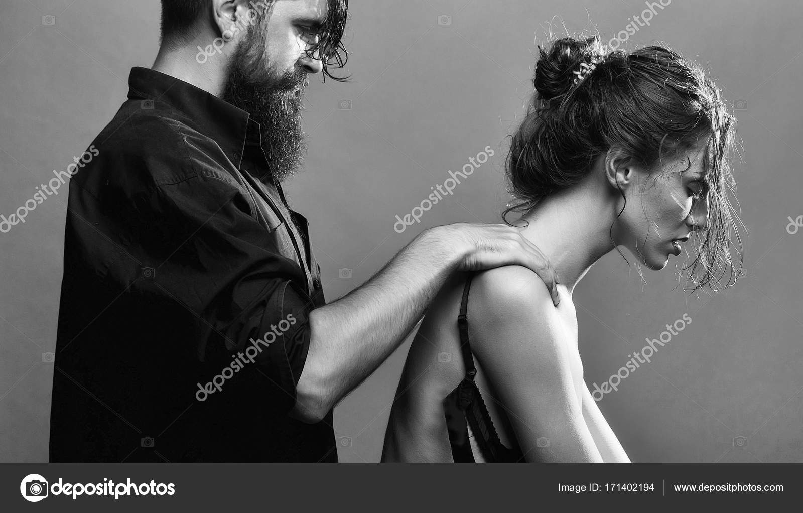 sexy couple of woman and bearded man — stock photo © tverdohlib