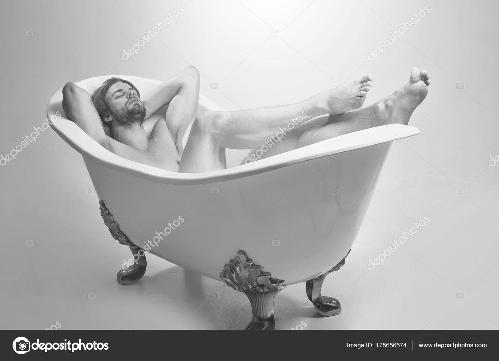 Bath in man naked tub