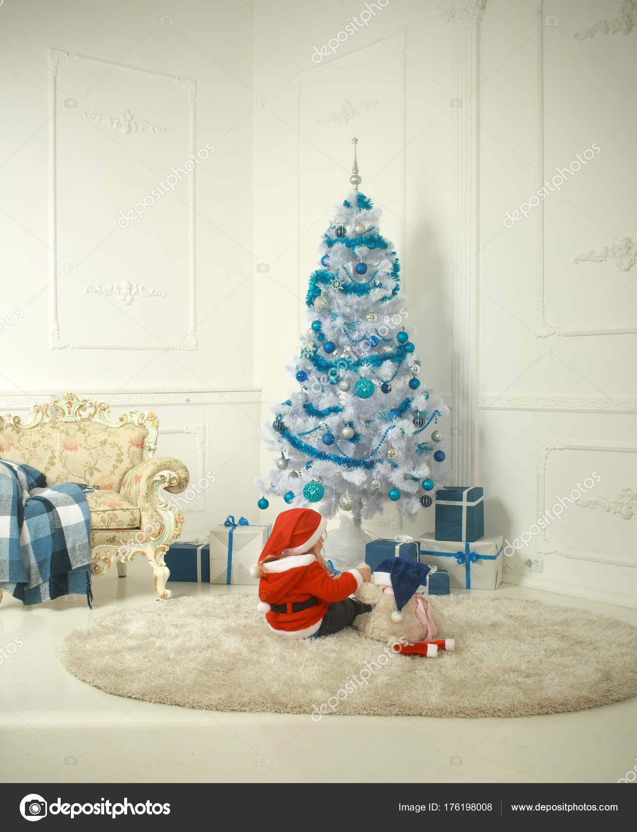 christmas child with bear and gift cyber monday santa claus kid with present box black friday winter holiday and vacation xmas party celebration - Cyber Monday Christmas Decorations