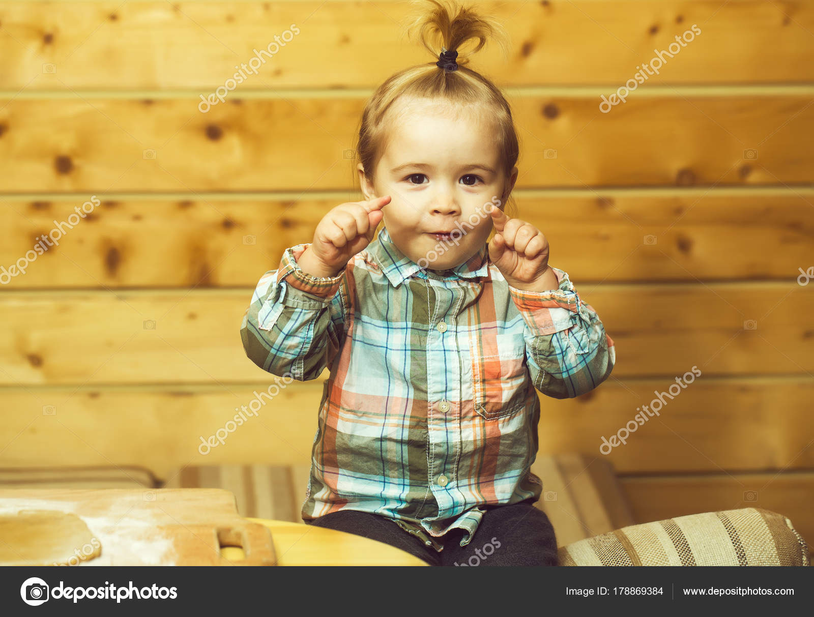 9c977d7ae Adorable Small Child Chef Cute Baby Boy Smiling Face Fashionable — Stock  Photo