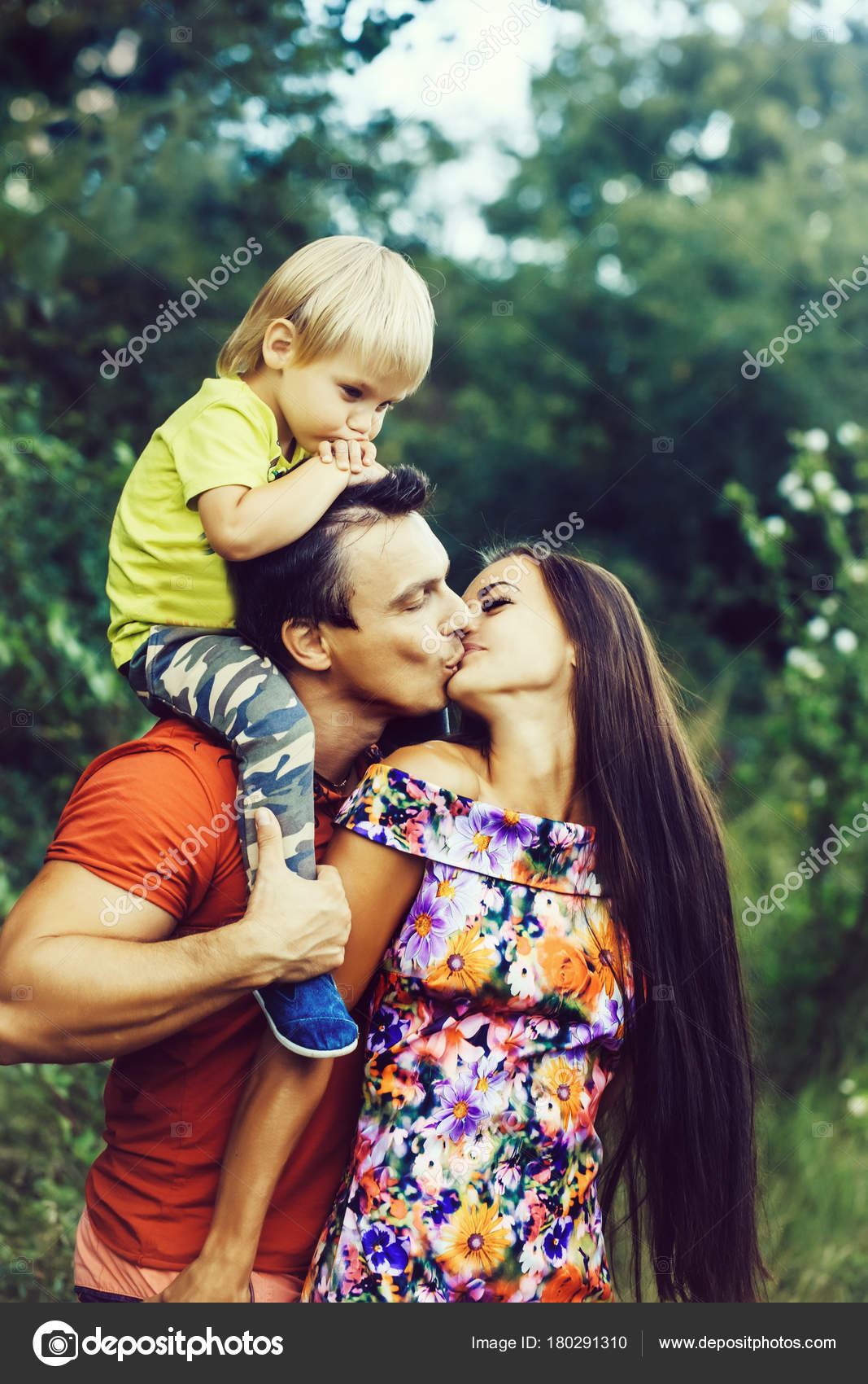happy smiling family cute baby boy little child kissing mother
