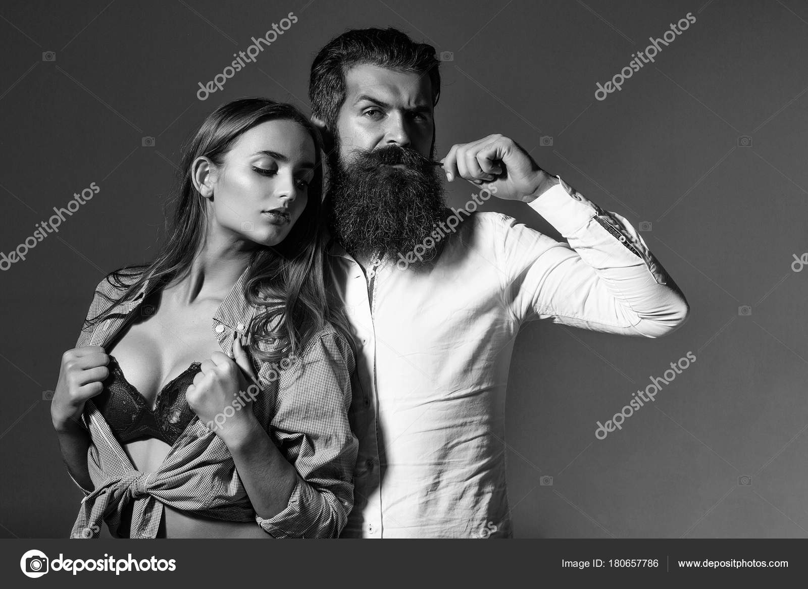 Young Sexy Couple Bearded Handsome Man Hipster Beard
