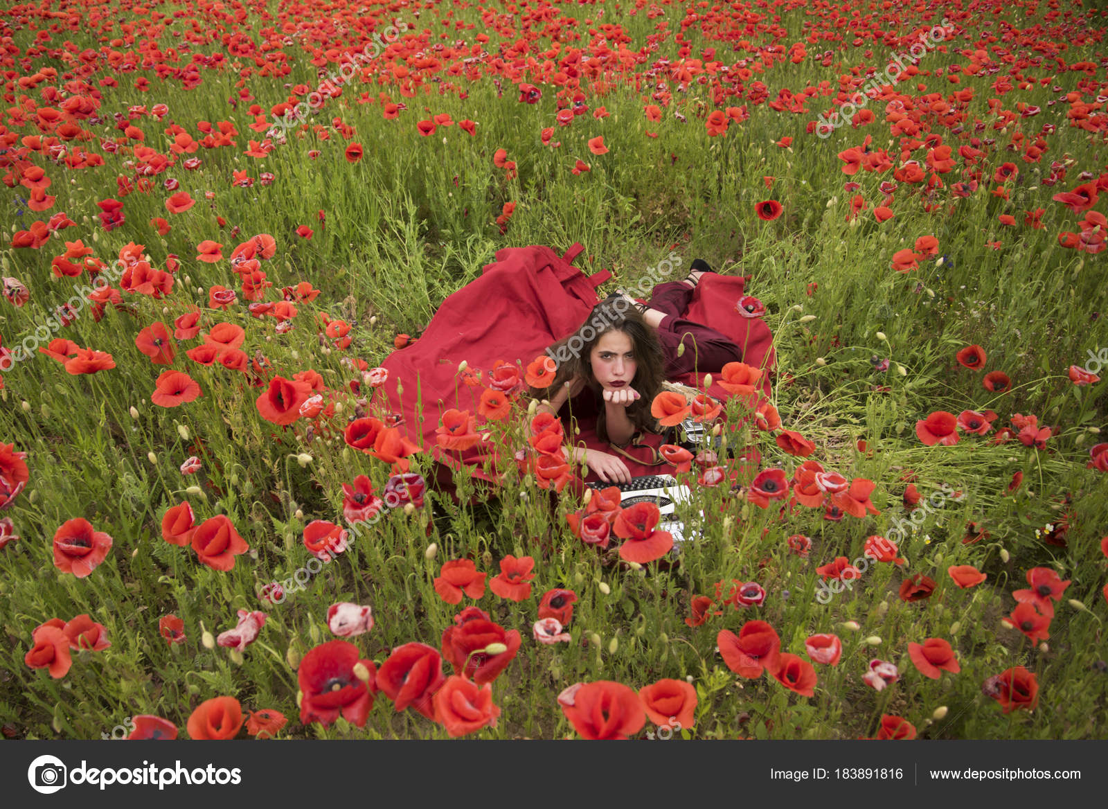 Woman Writer In Poppy Flower Field Stock Photo Tverdohlib