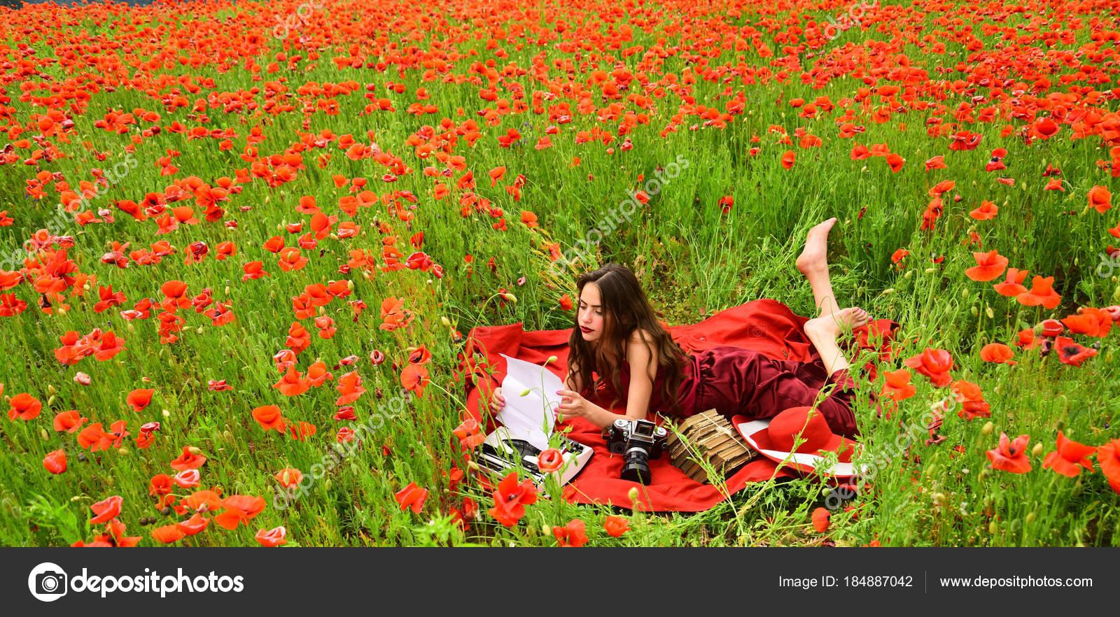 Drug Narcotics Opium Woman With Typewriter Camera Book Stock