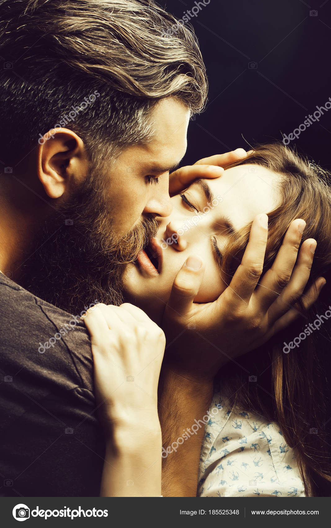 Sexy love women and men kissing on the lips