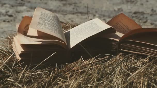 Open book with flipped pages. Wind blows the pages of the book. Vintage books on the farm.