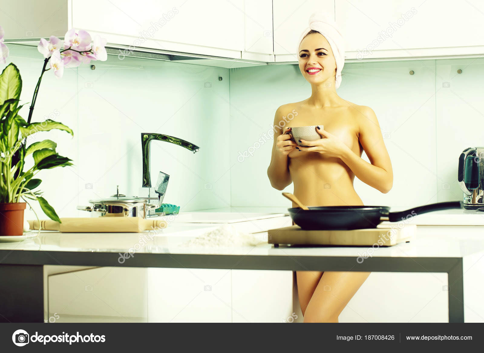 Undressed housewife