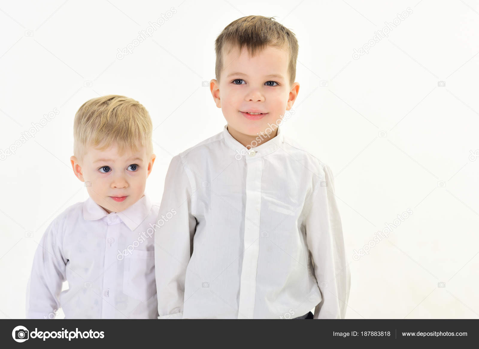 32575e06a Little boys in white shirt, business. Happy family, values, brothers. Kid  fashion, style and look, boss baby. Childhood and happiness, little boys.