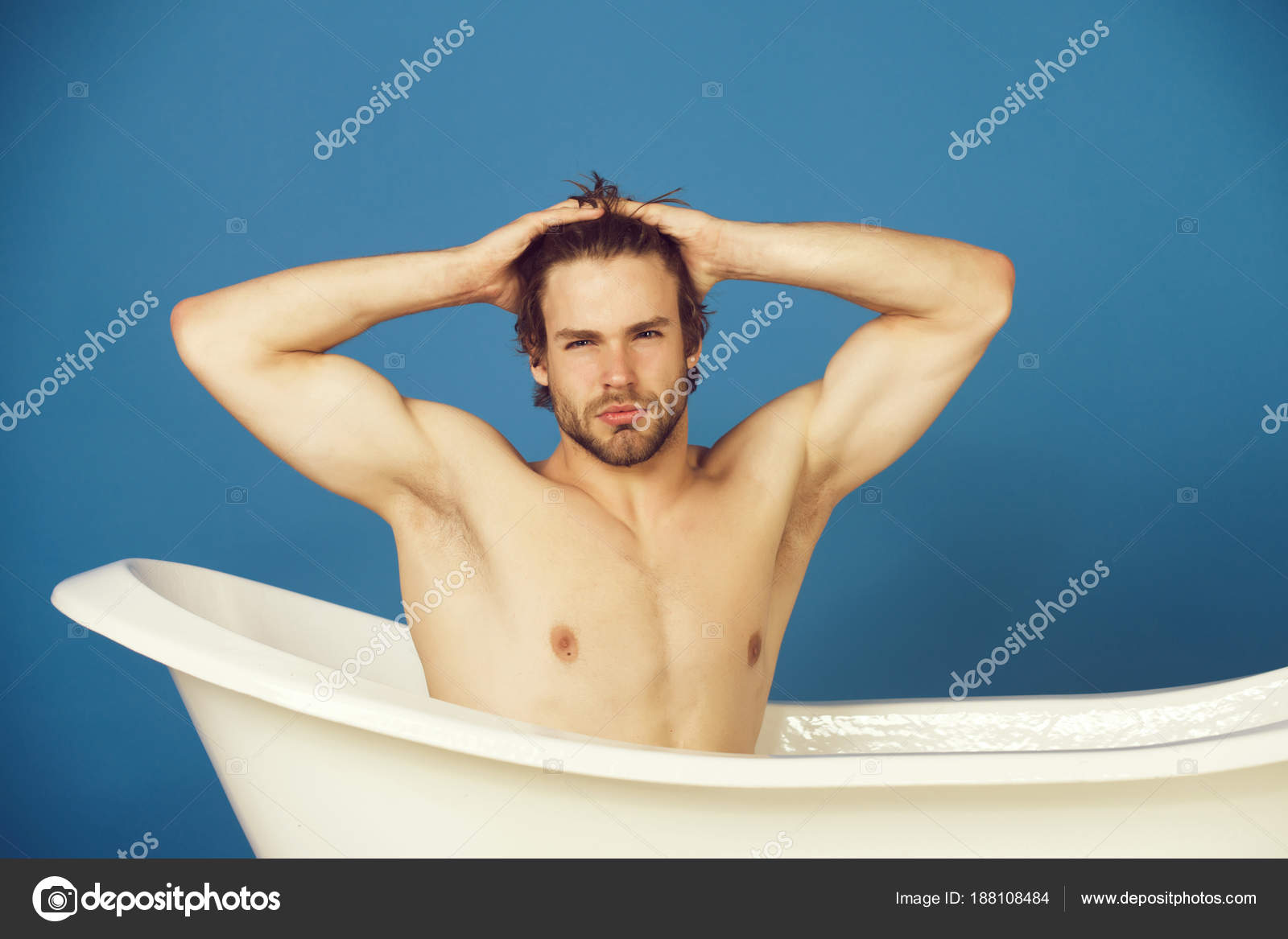 man with muscular body sitting in white bathtub — Stock Photo ...