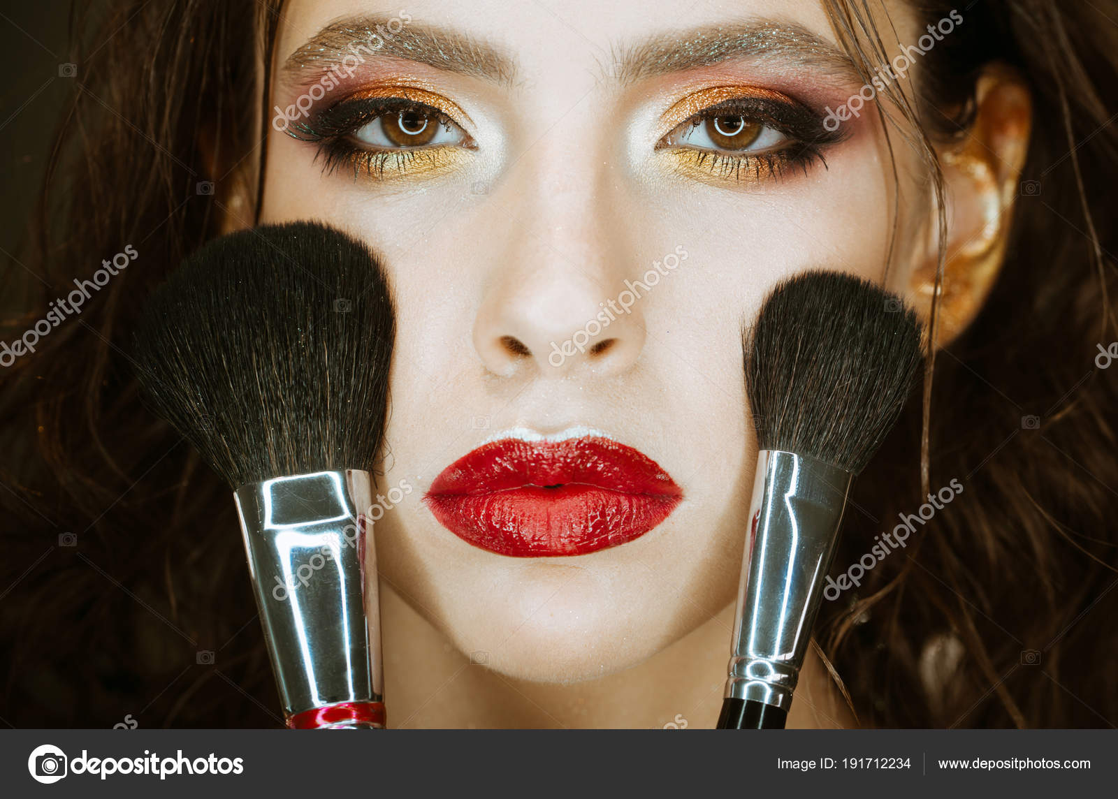 Girl With Makeup Brushes Apply Powder On Face Cosmetics Girl With Art Makeup And Red Lips Stock Photo C Tverdohlib Com 191712234