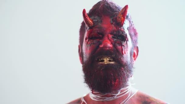 Devil vampire portrait. Halloween red devil monster. Krampus. Christmas devils. Halloween.