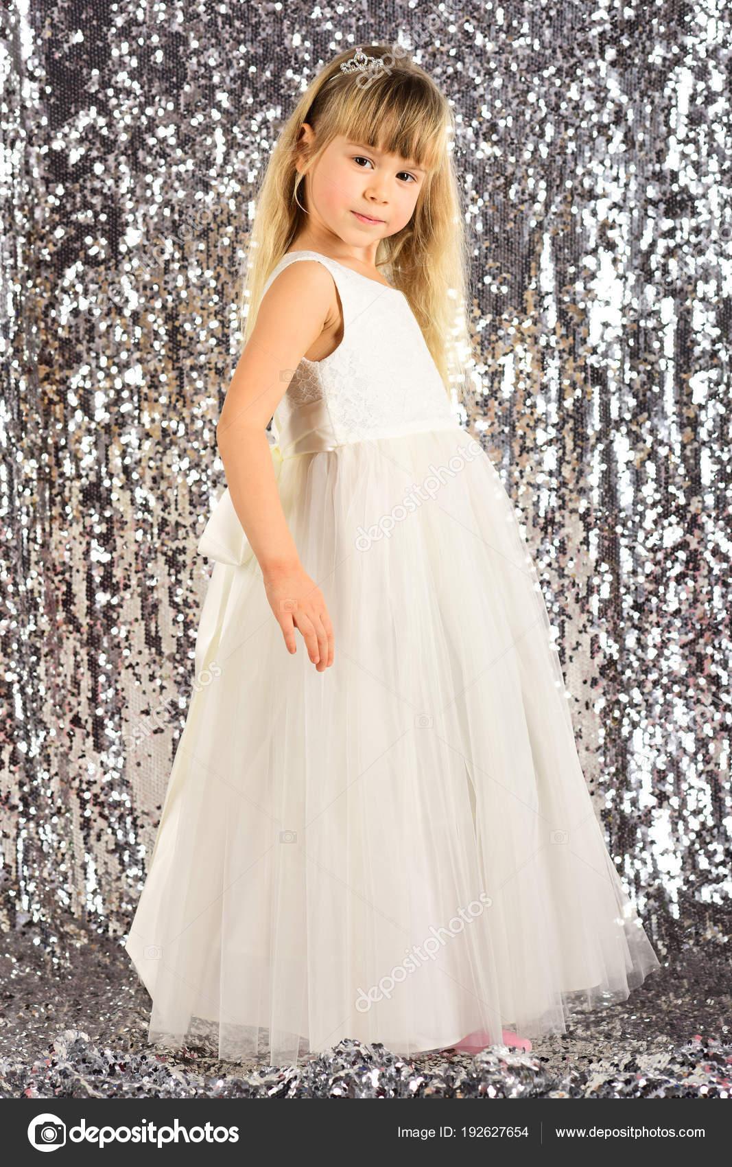 7fb85b2534c8 Elegance Stylish Look Elegance Little Girl Dress — Stock Photo ...