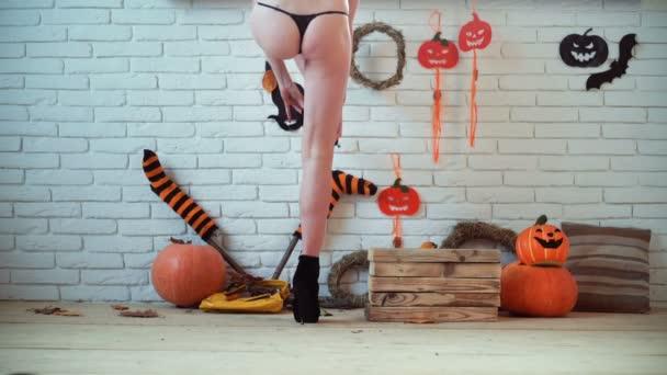 Sexy Arsch. sexy Hintern. Erotischer Hintern. Erotik-Arsch. Sexueller Arsch. Sexueller Hintern. Halloween, Kürbis. fröhliches Halloween. sexy Hexe in halloween.