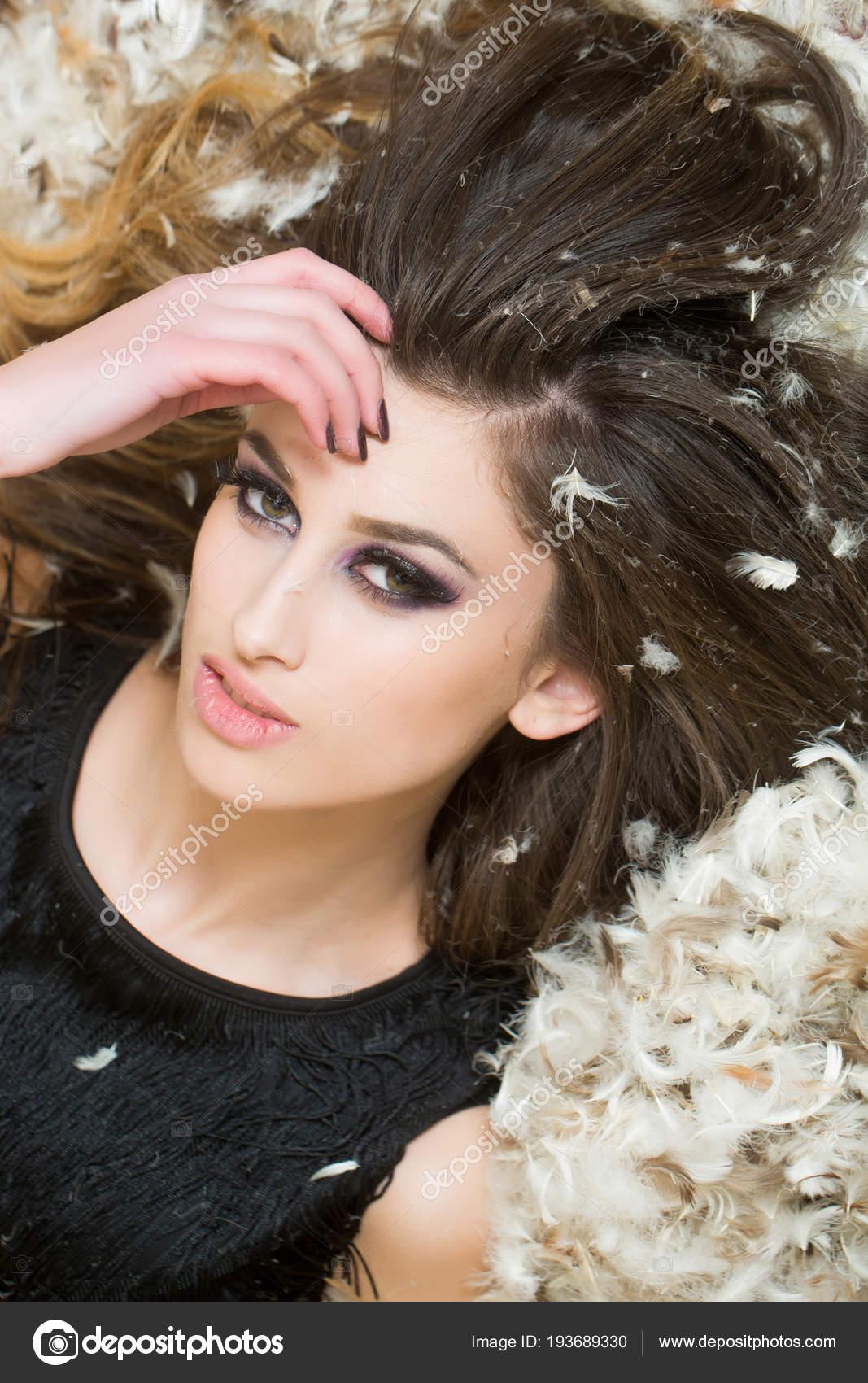 Woman Feathers Long Brunette Hair Sensual Woman Makeup Face