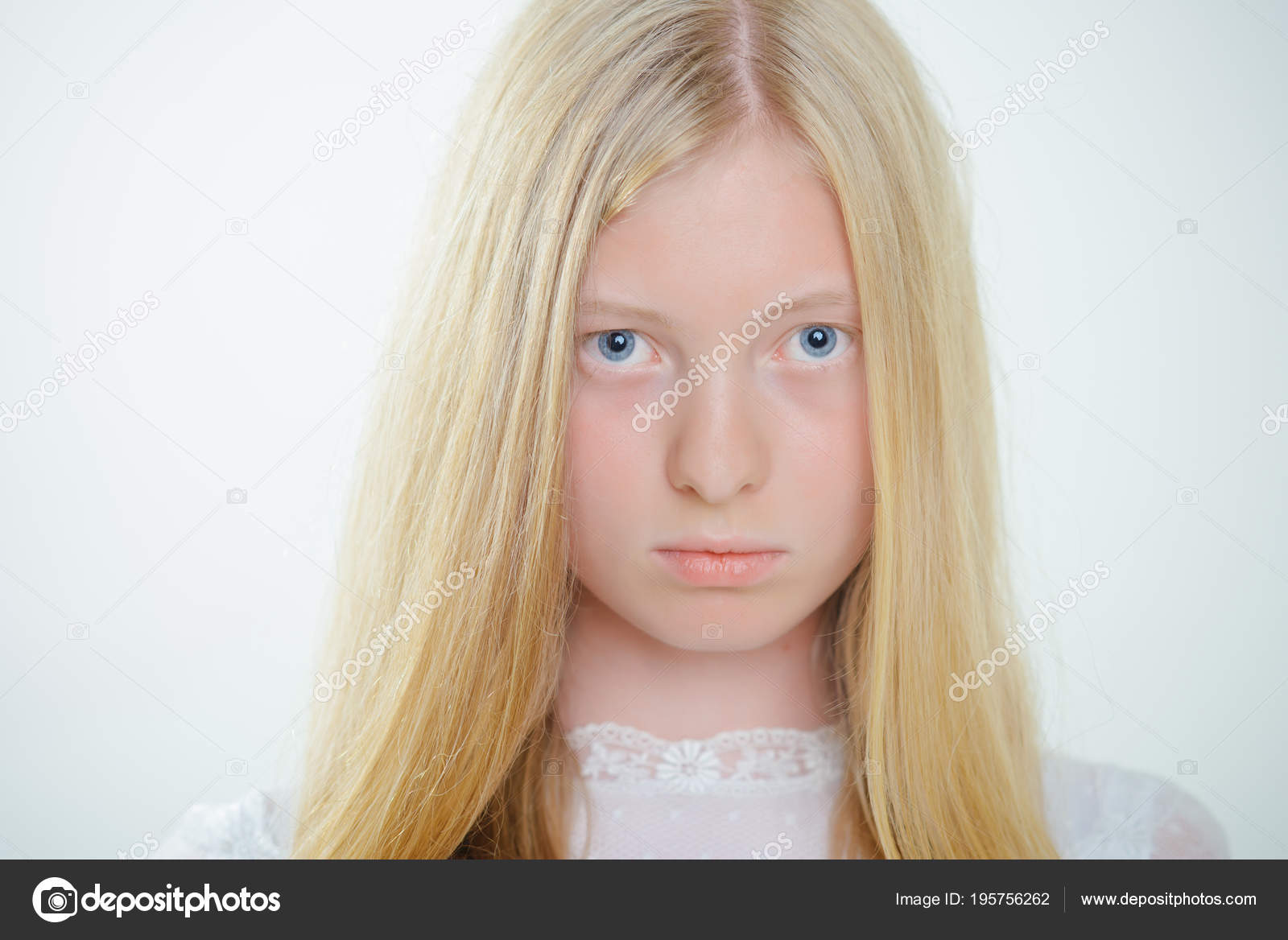 Albino Girl With Blue Eyes And White Skin Woman With Natural Beauty