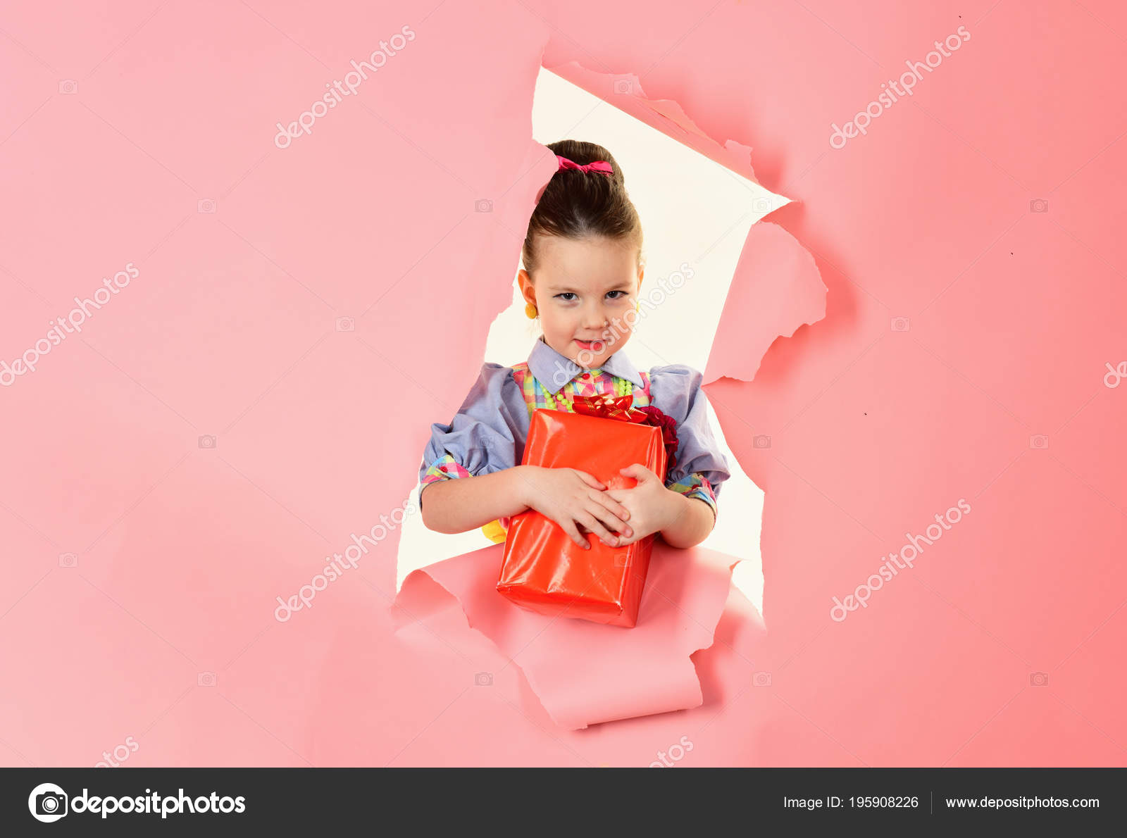 2d67027c5 Small girl with shopping package, black friday. Birthday and christmas.  Childhood and happiness, gift box. Child girl with present pack, cyber  monday.