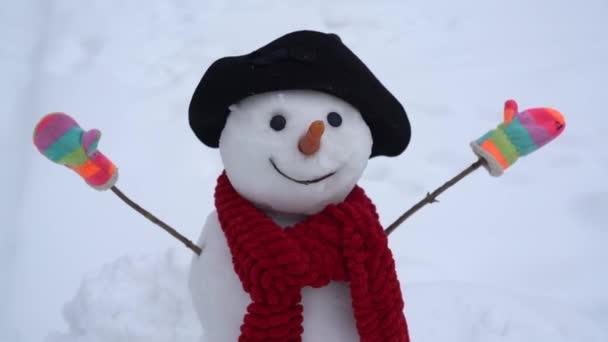 Schneemann und Winter. glücklich lächelnder Schneemann an einem sonnigen Wintertag. niedlichen Schneemann im Freien. Schneemanngruß.