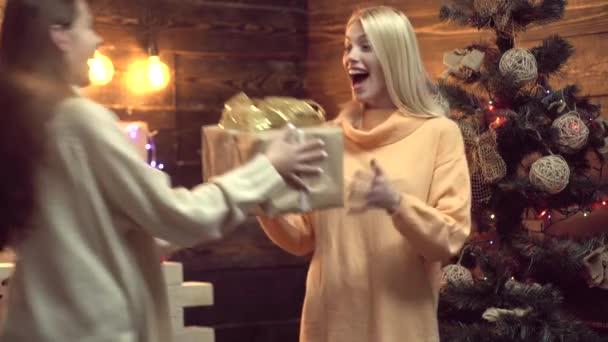 Šťastný nový rok přítelkyně dává vánoční dárek. Novoroční párty. Vánoční svátky. Přeji vám veselé Vánoce.