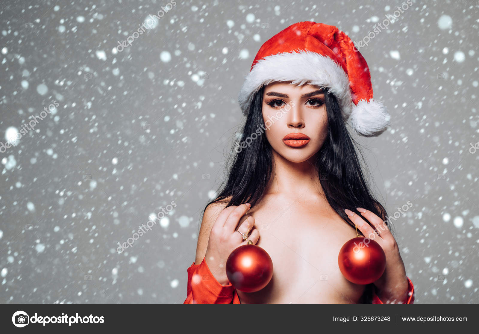 Busty Euro Model Sha Rizel Posing In Sexy Santa Suit And High Heels