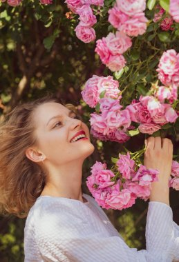 Pink rosebush blooming. Happy woman walking at rose garden. Relaxing and happiness concept. Young smiling girl enjoys pink rose flowers. Flowers of pink rose.