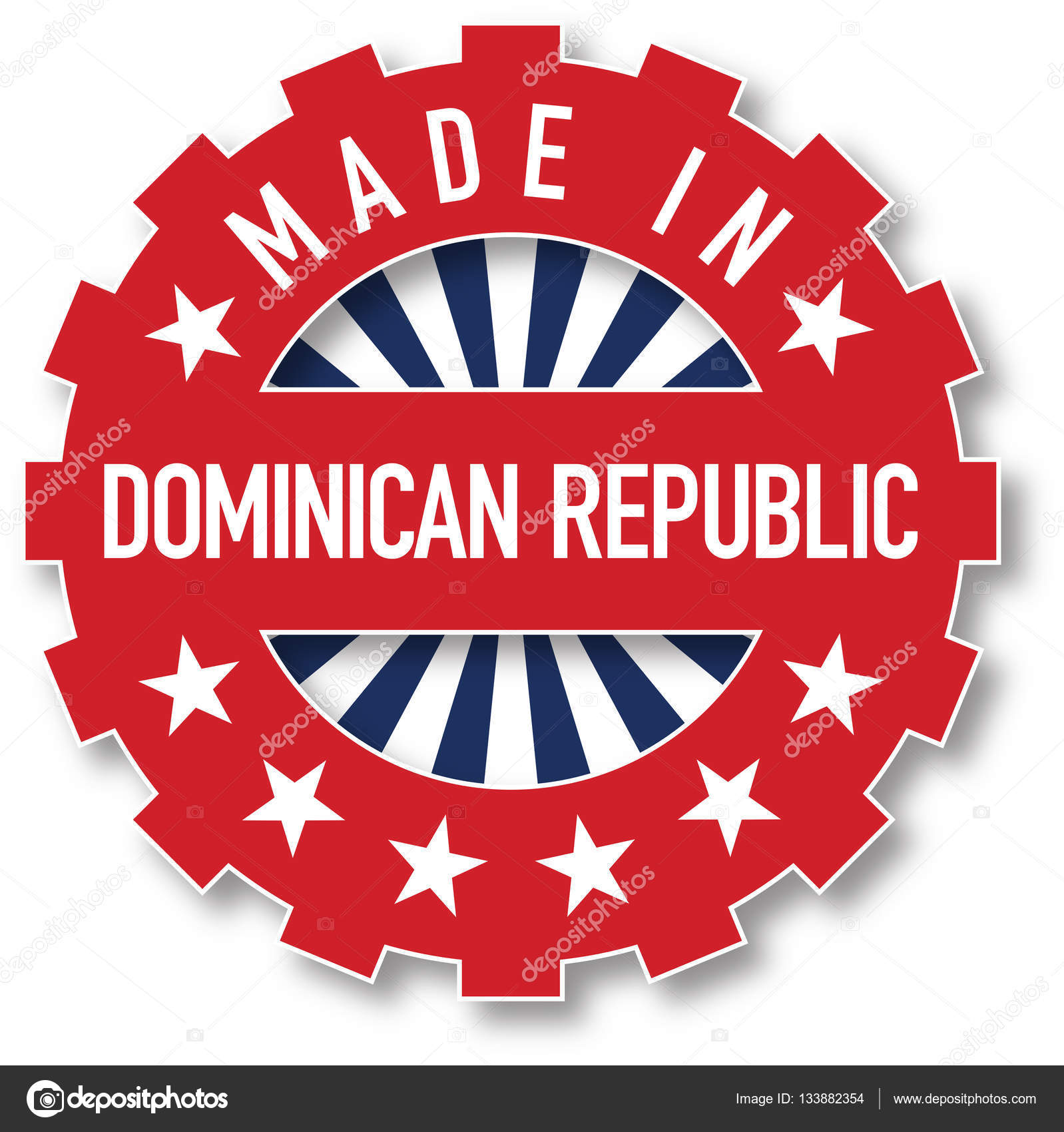 Made In Dominican Republic Flag Color Stamp Stock Vector