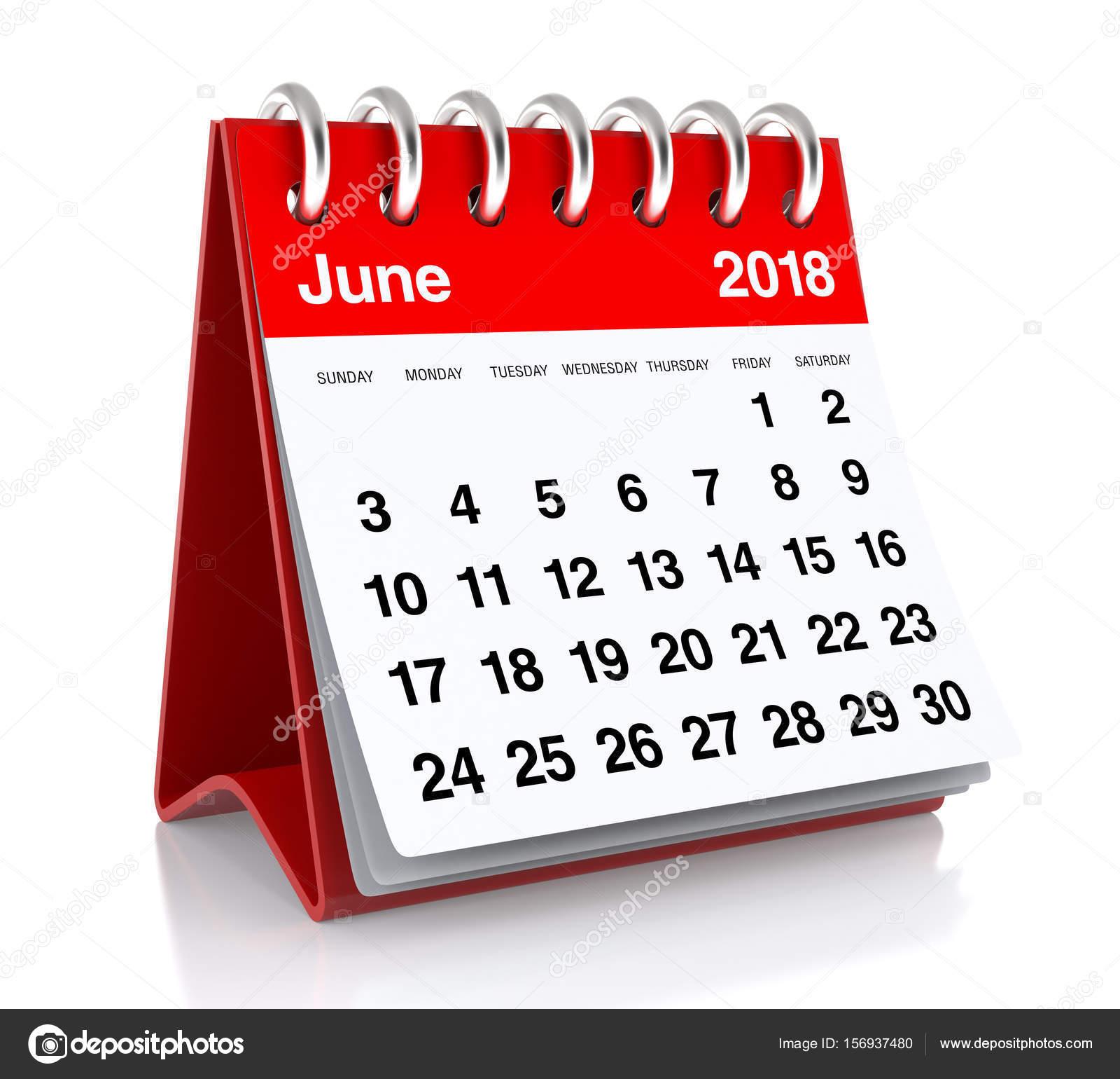 calendrier juin 2018 — Photo #156937480