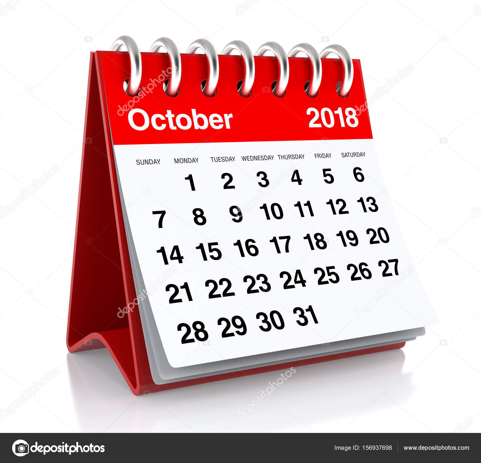 October 2018 Calendar — Stock Photo © klenger #156937698