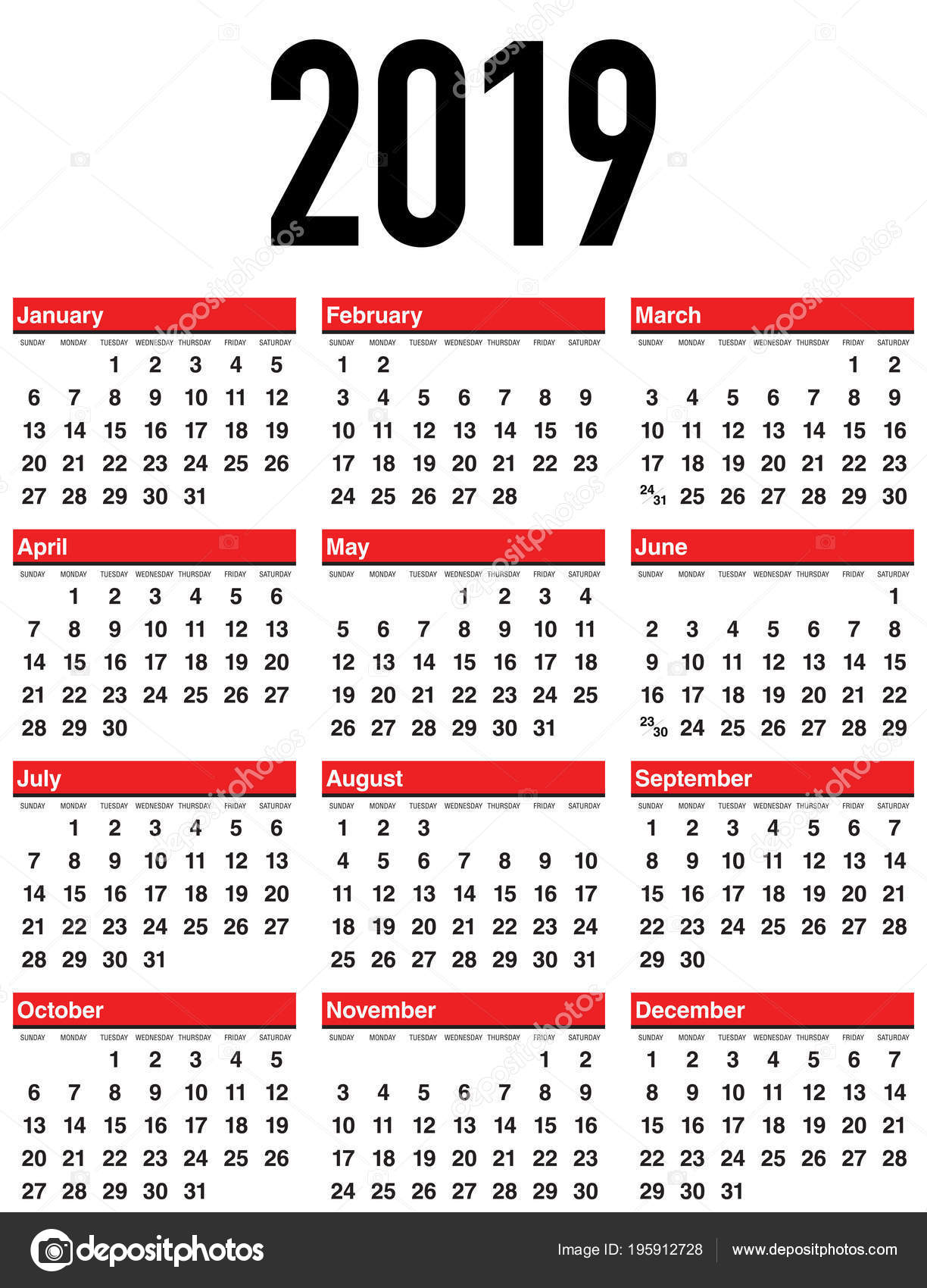 Calendario 2019 Por Semanas.Vector Calendario 2019 Semana Empieza Domingo Archivo