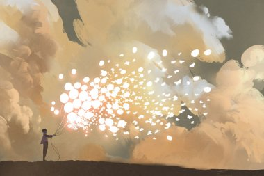 man releasing glowing balloons and butterflies flock in the sky