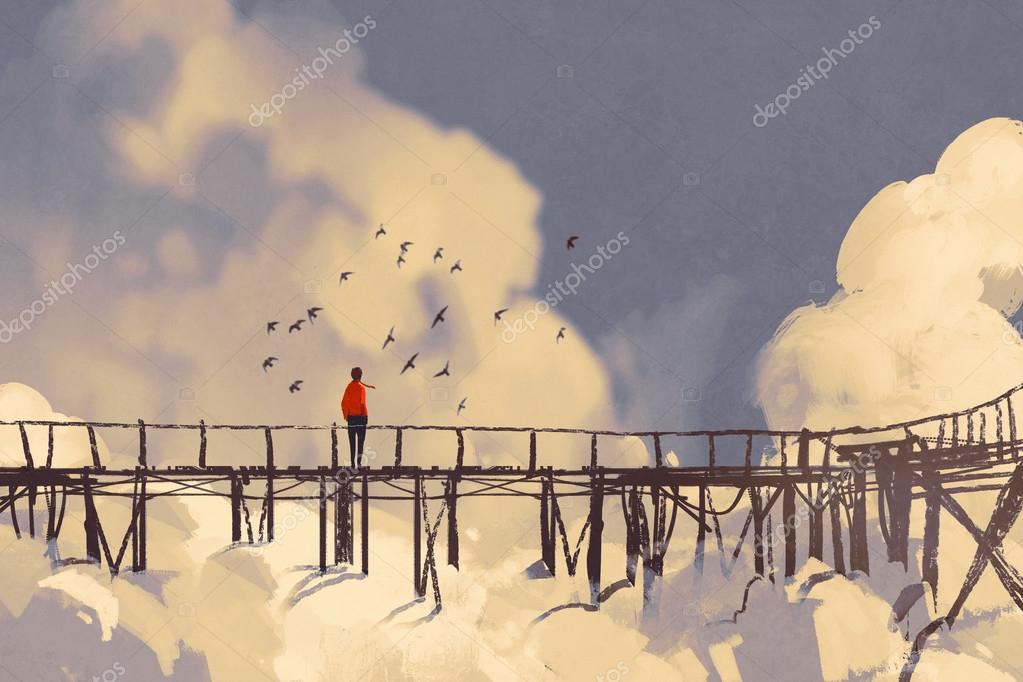 man standing on old bridge in a clouds
