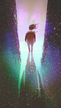 man walking out from a dark space into light