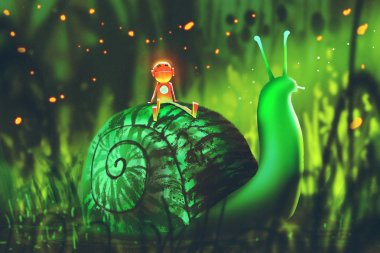 green snail with cute robot sits on its back against night forest