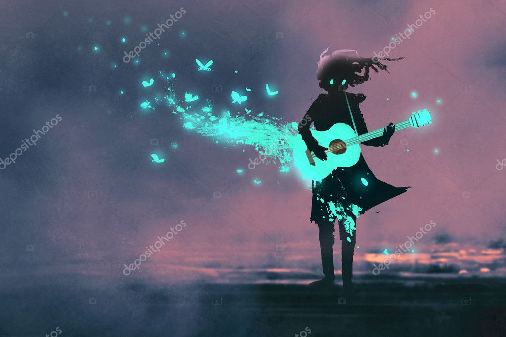 girl playing guitar with a blue light and glowing butterflies