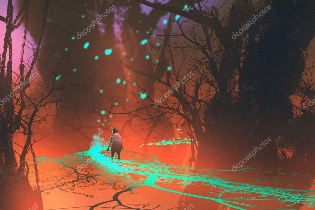 kid walking on fantasy bridge with glowing blue light