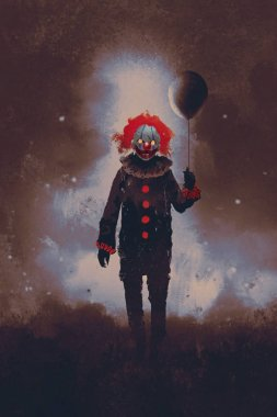 evil clown standing with a black balloon