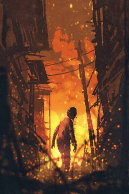 zombie looking back with burning city background
