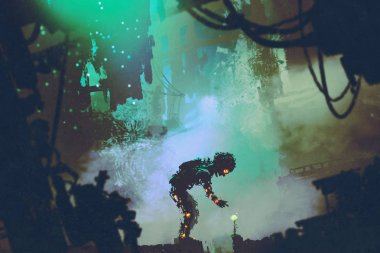 cute robot touching flower in ruined city