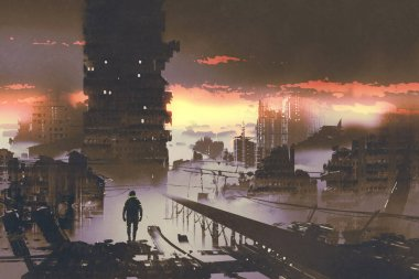 man standing in abandoned city,sci-fi concept