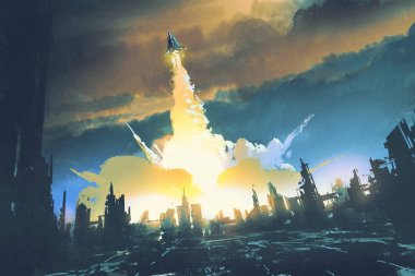rocket launch take off from an abandoned city
