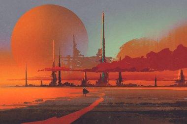 sci-fi contruction in the desert,illustration