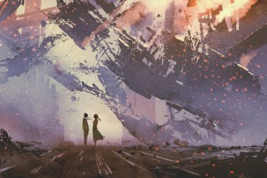 man and woman standing against collapsing buildings city